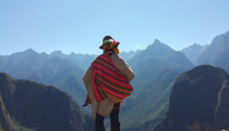 Person looking at mountains
